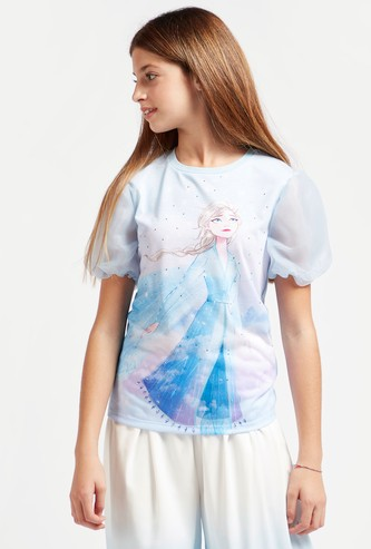 Frozen Graphic Print T-shirt with Round Neck and Organza Sleeves
