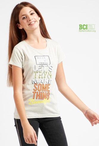 Slogan Print Round Neck T-shirt with Cap Sleeves