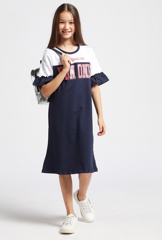 Text Print Dress with Short Sleeves and Ruffle Detail