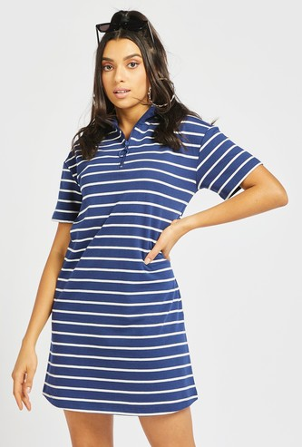 Striped Dress with Zippered Detail and Short Sleeves