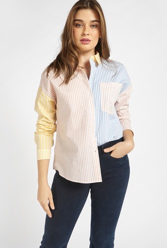 Colourblocked Striped Shirt with Long Sleeves and Patch Pocket