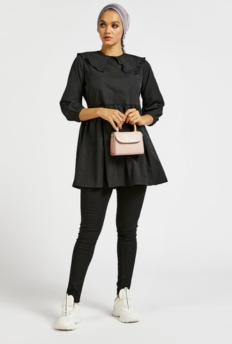 Solid Peter Pan Collared Mini Dress with 3/4 Poplin Sleeves