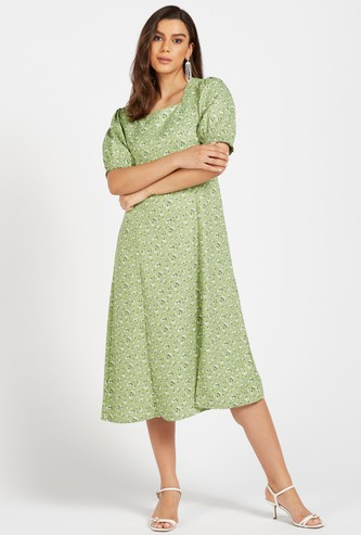 Floral Print Square Neck Midi A-line Dress with Short Sleeves