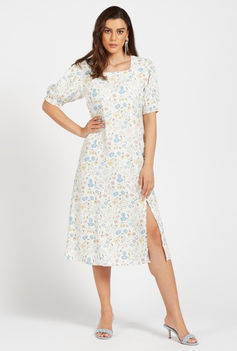 Floral Print Midi A-line Dress with Square Neck and Short Sleeves