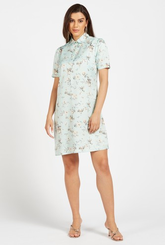 Floral Print Knee-Length Shift Dress with Collar and Short Sleeves