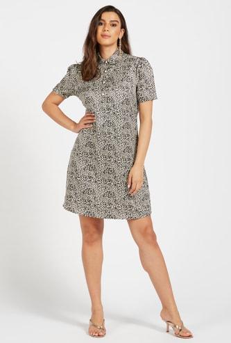 Leopard Print Mini Shirt Dress with Spread Collar