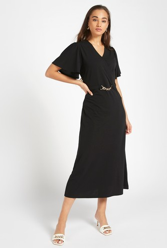 Solid Midi A-line Wrap Dress with V-neck and Metallic Chain Detail