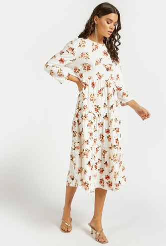 Floral Print Round Neck Tiered Midi Dress with Long Sleeves