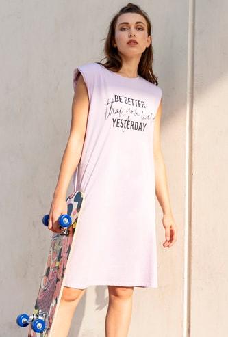 Slogan Print Sleeveless Shift Dress with Power Shoulder