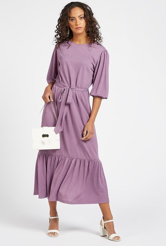 Printed Midi Tiered Dress with Volume Sleeves and Belt