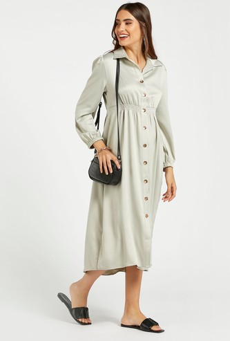 Solid Midi Shirt Dress with Collar and Long Sleeves