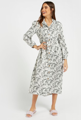 Floral Print Midi Shirt Dress with Long Sleeves and Collar