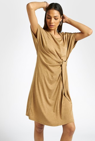 Solid Shift Dress with Cap Sleeves and Wrap Detail