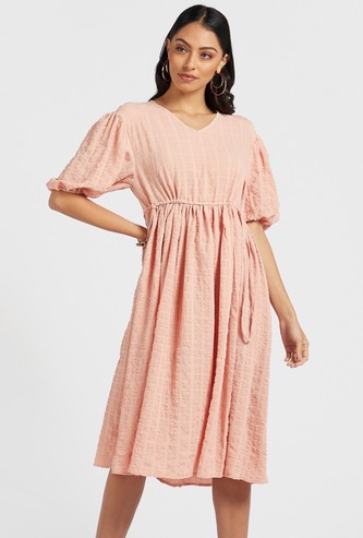 Bubble Textured Midi A-line Dress with Puff Sleeves and Tie-Ups