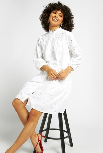 Schiffli Detail Tiered Dress with High Neck and Bishop Sleeves