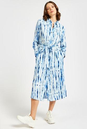 Tie-Dye Print Midi Shirt Dress with Long Sleeves