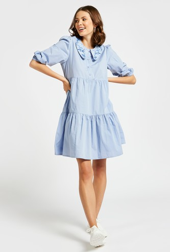 Embroidered Detail Tiered Dress with Peter Pan Collar and 3/4 Sleeves