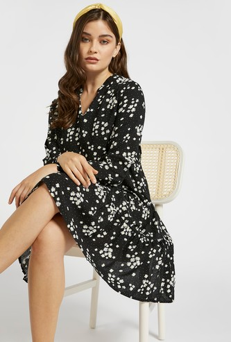 All-Over Floral Print Tiered Dress with V-neck and Long Sleeves