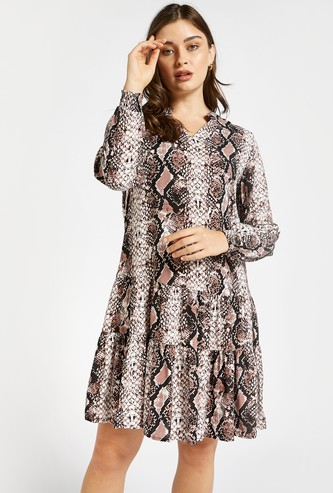 All-Over Animal Print Tiered Dress with V-neck and Long Sleeves