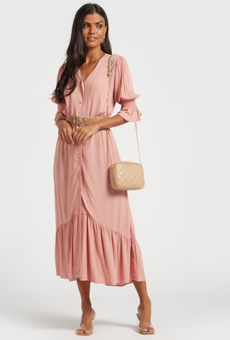 Solid Midi A-line Dress with 3/4 Sleeves and Smocking Detail