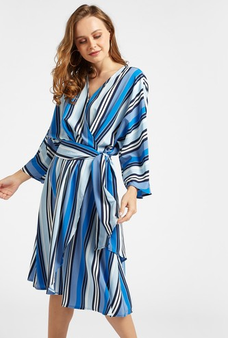 Striped A-line Wrap Dress with Long Sleeves and Tie-Ups