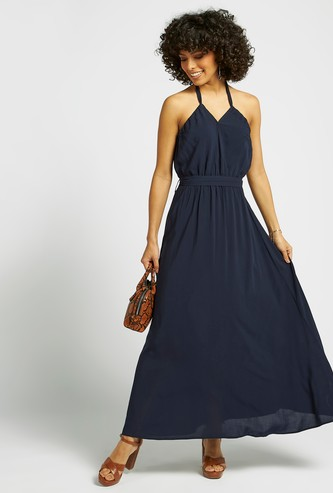 Solid Maxi A-line Sleeveless Dress with Halter Neck and Tie-Ups