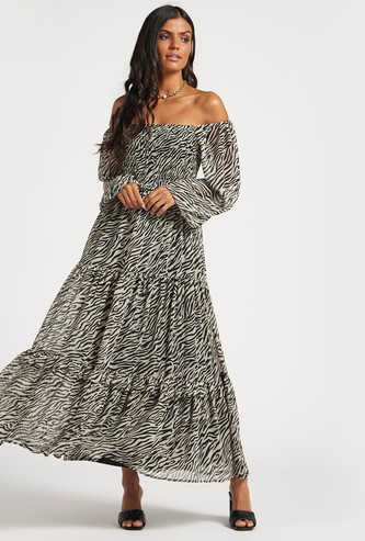 Printed Tiered Maxi Off-Shoulder Dress with Long Sleeves
