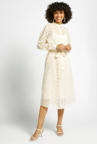 Polka Dot Print Midi Shirt Dress with Long Sleeves and Tie-Ups