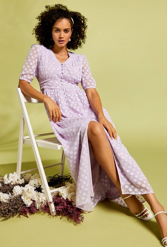 Jacquard V-neck Maxi Dress with Front Slit