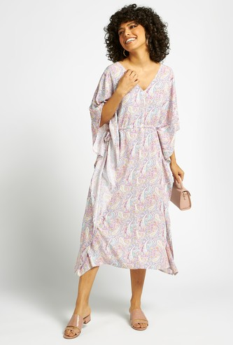 All-Over Print Midi A-line Kimono Dress with V-neck