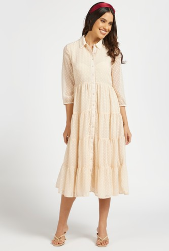 Textured Tiered Midi Dress with 3/4 Sleeves and Button Closure
