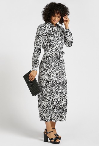 Leopard Print Maxi Shirt Dress with Collar and Long Sleeves
