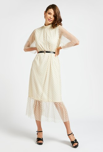Polka Dots Print A-line Midi Dress with Short Sleeves and Belt