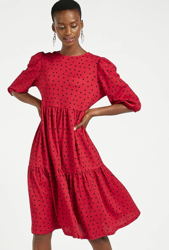 Dot Print Knee Length Tiered Dress with Round Neck and 3/4 Sleeves