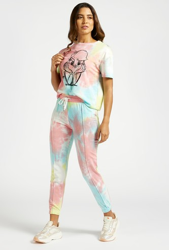 Tie-Dye Print Mid-Rise Joggers with Drawstring Closure