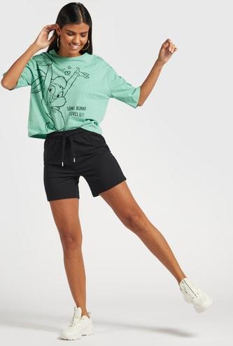 Solid Shorts with Elasticated Drawstring Closure