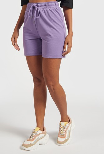 Solid Shorts with Elasticated Drawstring Closure