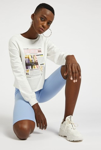 Solid Knee Length Cycling Shorts with Elasticated Waist