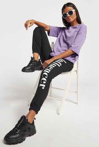 Text Print Joggers with Elasticated Drawstring Waistband