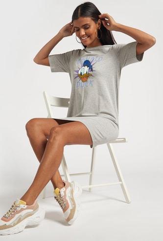 Donald Duck Print Mini T-shirt Dress with Short Sleeves
