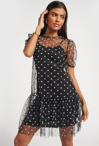 Polka Dot Print A-line Mesh Dress with Puff Sleeves