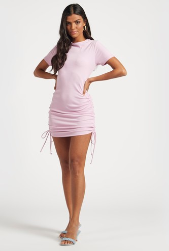 Ribbed Mini Dress with Short Sleeves and Ruching Detail