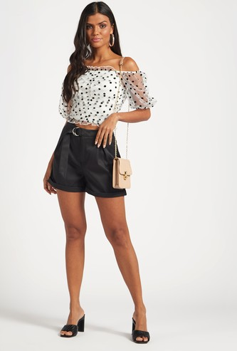 Dotted Off-Shoulder Top with Sheer Elbow Sleeves
