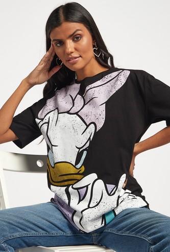 Daisy Duck Graphic Print Longline T-shirt with Crew Neck