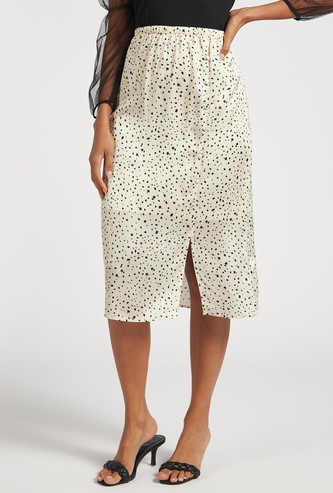 Printed Midi A-line Skirt with Elasticated Waist