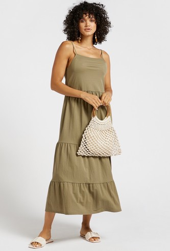 Solid Square Neck Tiered Midi Dress with Straps