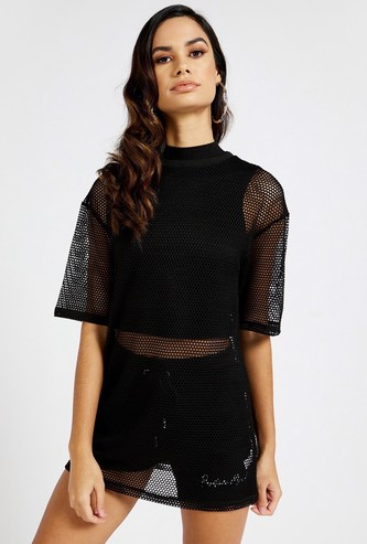 Mesh Boxy T-shirt with Round Neck and Short Sleeves