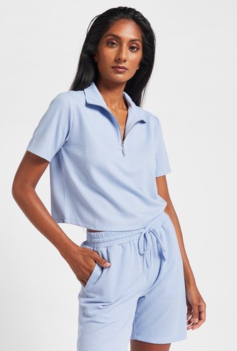 Textured T-shirt with Short Sleeves and Front Zip Detail