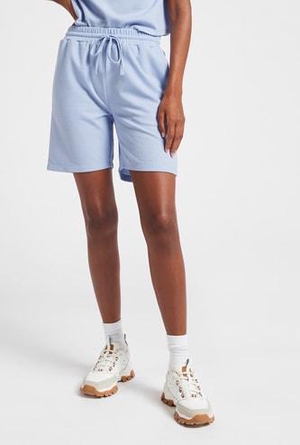 Textured Shorts with Pockets and Drawstring