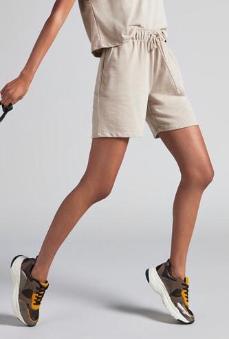 Solid Bermuda Shorts with Pockets and Elasticated Drawstring Waist